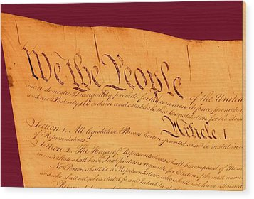 Us Constitution Closeup Violet Red Bacjground Wood Print by L Brown