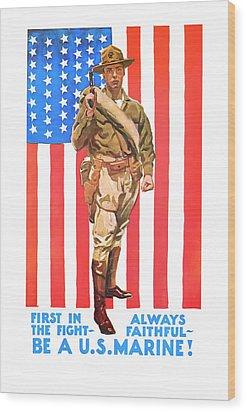 U.s. Marine Wood Print by Presented By American Classic Art