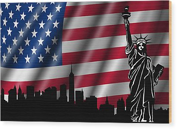 Usa American Flag With Statue Of Liberty Skyline Silhouette Wood Print by David Gn