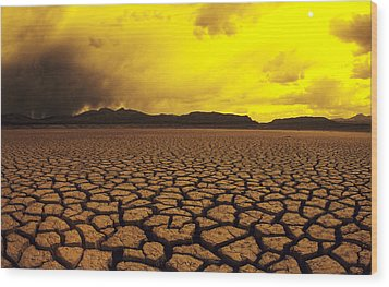 Usa, California, Cracked Mud In Dry Wood Print by Larry Dale Gordon