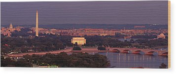 Usa, Washington Dc, Aerial, Night Wood Print by Panoramic Images
