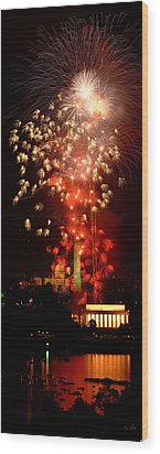 Usa, Washington Dc, Fireworks Wood Print by Panoramic Images