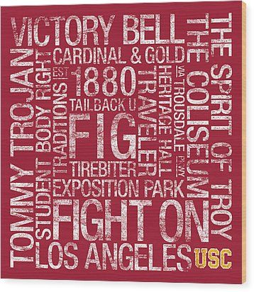 Usc College Colors Subway Art Wood Print by Replay Photos