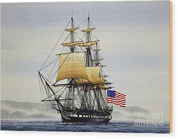 Uss Constitution Wood Print by James Williamson
