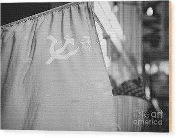 Ussr Red Hammer And Sickle Flag Next To Us Stars And Stripes Wood Print by Joe Fox