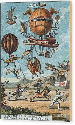 Utopian Flying Machines 19th Century Wood Print by Science Source
