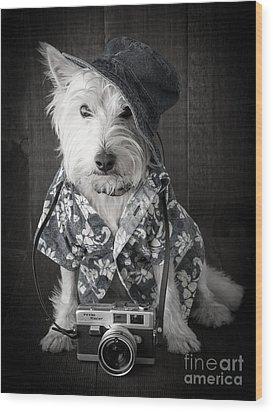 Vacation Dog With Camera And Hawaiian Shirt Wood Print by Edward Fielding