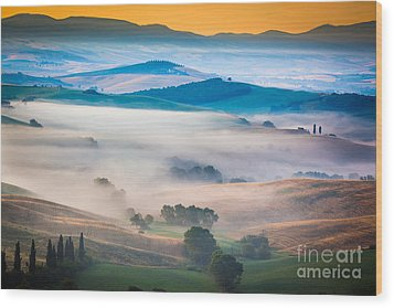 Val D'orcia Enchantment Wood Print by Inge Johnsson