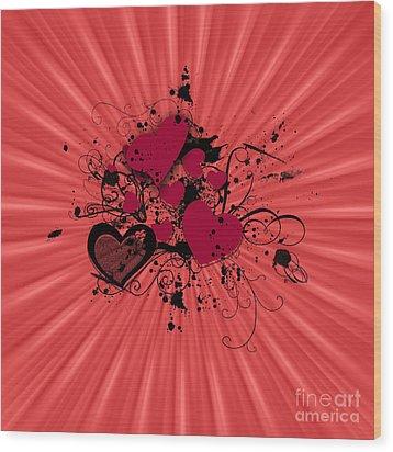 Valentine Day Illustration Wood Print by Darren Fisher