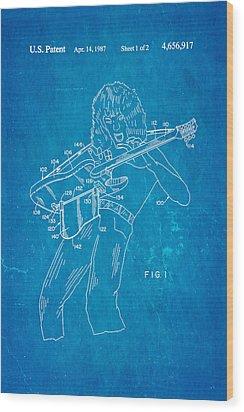 Van Halen Instrument Support Patent Art 1987 Blueprint Wood Print by Ian Monk