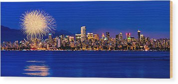 Vancouver Celebration Of Light Fireworks 2013 - Day 1 Wood Print by Alexis Birkill