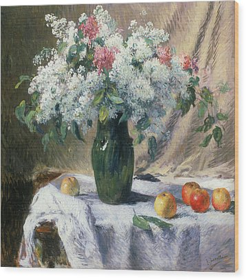 Vase Of Flowers Wood Print by Henri Lerolle