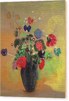 Vase Of Flowers Wood Print by Odilon Redon
