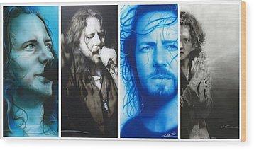 Eddie Vedder - ' Vedder Mosaic I ' Wood Print by Christian Chapman Art