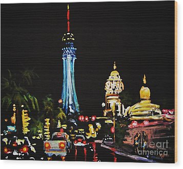 Vegas At Night Wood Print by John Malone