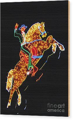 Vegas Cowboy Sign Wood Print by John Malone