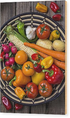 Vegetable Basket    Wood Print by Garry Gay