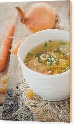 Vegetable Soup With Pasta Wood Print by Mythja  Photography