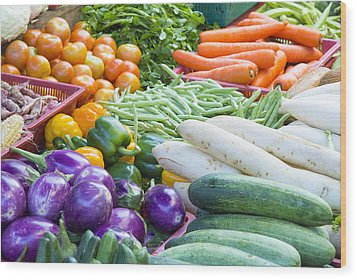 Vegetables Stand In Wet Market Wood Print by JPLDesigns