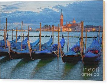 Venice View To San Giorgio Maggiore Wood Print by Heiko Koehrer-Wagner