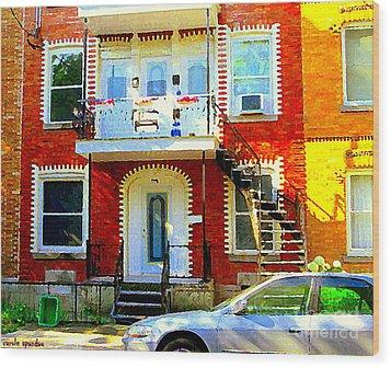 Verdun City Street Triplex Apartment Outdoor Winding Stairs Montreal Scenes Primary Colors C Spandau Wood Print by Carole Spandau