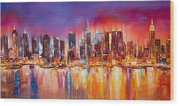 Vibrant New York City Skyline Wood Print by Manit
