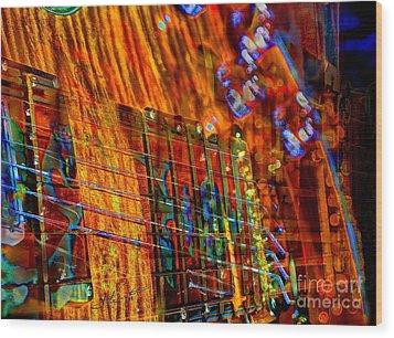 Vibrations Digital Guitar Art Bt Steven Langston Wood Print by Steven Lebron Langston