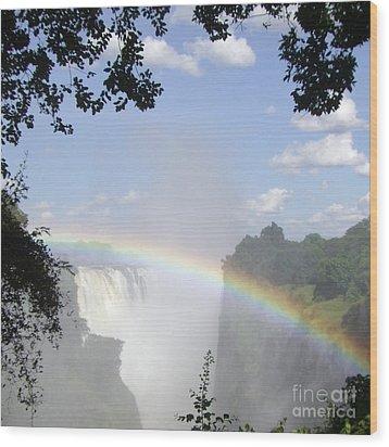 Victoria Falls Rainbow Wood Print by Barbie Corbett-Newmin
