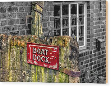 Victorian Boat Dock Sign Wood Print by Adrian Evans