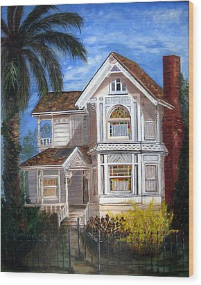 Victorian House Wood Print by LaVonne Hand