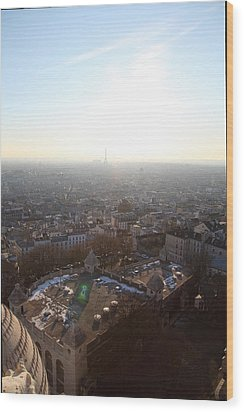 View From Basilica Of The Sacred Heart Of Paris - Sacre Coeur - Paris France - 011312 Wood Print by DC Photographer