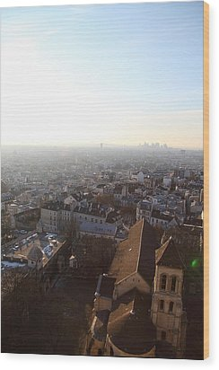 View From Basilica Of The Sacred Heart Of Paris - Sacre Coeur - Paris France - 011316 Wood Print by DC Photographer