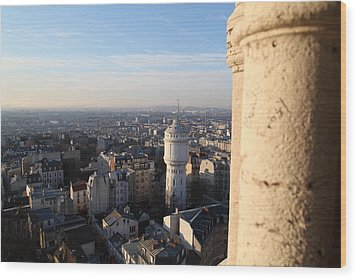 View From Basilica Of The Sacred Heart Of Paris - Sacre Coeur - Paris France - 01138 Wood Print by DC Photographer