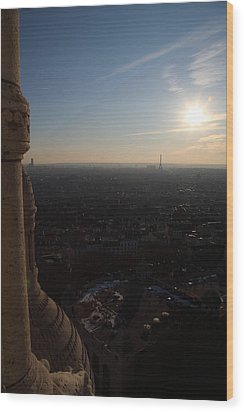 View From Basilica Of The Sacred Heart Of Paris - Sacre Coeur - Paris France - 01139 Wood Print by DC Photographer