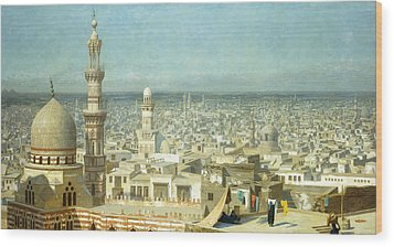 View Of Cairo Wood Print by Jean Leon Gerome