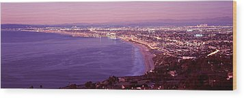 View Of Los Angeles Downtown Wood Print by Panoramic Images