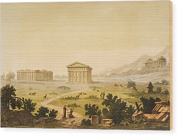 View Of Temples In Paestum At Syracuse Wood Print by Giulio Ferrario