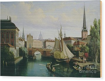 View Of The Riddarholmskanalen Wood Print by Gustav Palm