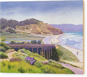 View Of Torrey Pines Wood Print by Mary Helmreich