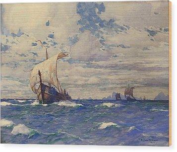Viking Ships At Sea Wood Print by Pg Reproductions