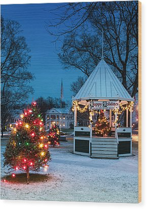 Village Green Holiday Greetings- New Milford Ct - Wood Print by Thomas Schoeller