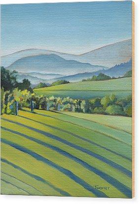 Vineyard Blue Ridge On Buck Mountain Road Virginia Wood Print by Catherine Twomey
