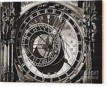 Vintage Astronomical Clock Wood Print by John Rizzuto