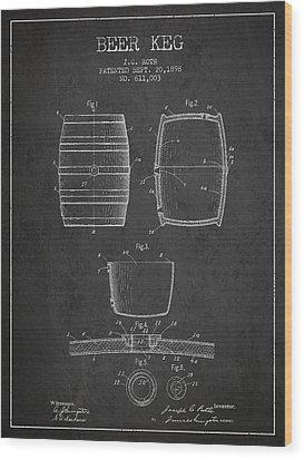 Vintage Beer Keg Patent Drawing From 1898 - Dark Wood Print by Aged Pixel