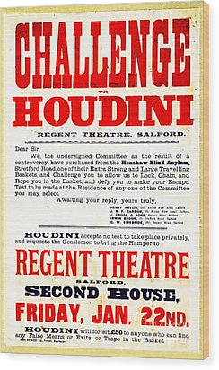 Vintage Challenge Houdini Poster Wood Print by Wingsdomain Art and Photography