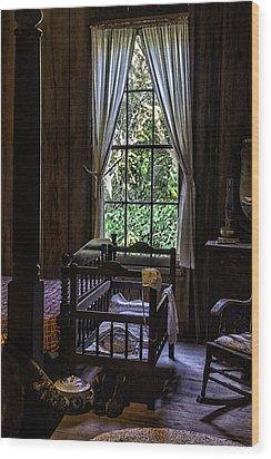Vintage Crib And Bedroom Wood Print by Lynn Palmer