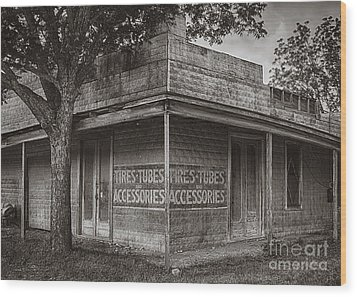 Vintage D'hanis Texas Business Wood Print by Priscilla Burgers