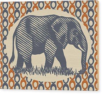 Gray Elephant Wood Print by Flo Karp