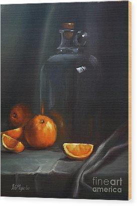 Vintage Glass Jug And  Oranges Wood Print by Viktoria K Majestic