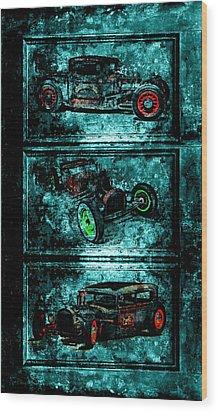 Vintage Hotrods Wood Print by Amanda Struz